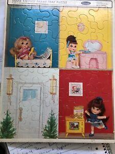 Liddle Kiddles Frame Tray Puzzle Whitman #4527 Mattel 4 Scenes Vintage 1968