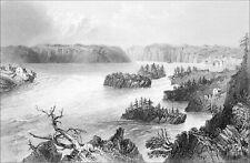 CANADA (QUÉBEC) - RAPIDES sur la RIVIÈRE SAINT-JEAN - Gravure du 19e siècle