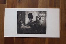 ✒ ca.1900 Honoré DAUMIER Chanteur des rues - sur japon, superbe gravure