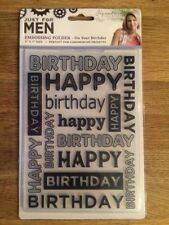 """Sara Signature 5""""x7"""" Embossing Folder - Just For Men -On Your Birthday FREE POST"""