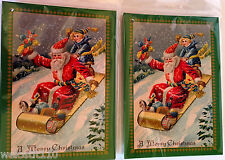 Old World Santa On Sled With Christmas Toys Gift Tags. Set of 12. Beautiful!