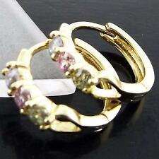 FS973 GENUINE REAL 18K YELLOW G/F GOLD SOLID COLOURED CZ HUGGIE HOOP EARRINGS