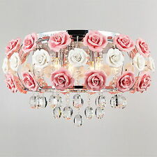 Idyllic Modern Flower Crystal Ceiling Pendant Lamp Flush Mount Chandelier Light