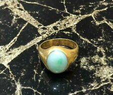 STUNNING ANTIQUE 22ct YELLOW GOLD  OVAL JADE SIGNET RING SIZE L