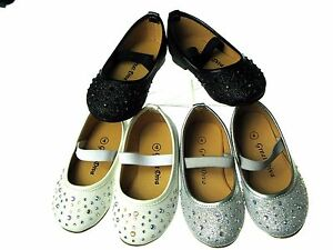 New Adorable Baby Toddler Girls Slip-On Glittery Rhine Stone Dress Shoes Sz 4-9