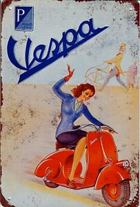 "Retro Blechschild Vintage Nostalgie look 20x30cm ""Piaggio Vespa"" neu"