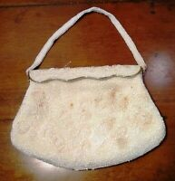 Beaded Clutch Purse Evening Bag Vintage Pearl White & Pink Beads Delill Japan