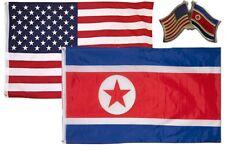 Wholesale Combo USA & Korea Country 2x3 2'x3' Flag & Friendship Lapel Pin
