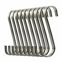 Set of 10 S Stainless Steel Suspension Hooks for Kitchen Cookware or Butcher GN8