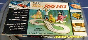 VINTAGE ELDON DELUXE ROAD RACE SET NO. 9801 INCOMPLETE - 1960'S - GOOD CONDITION