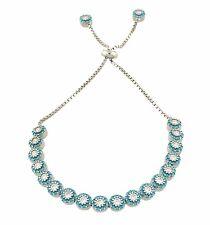 925 Sterling Silver Turquoise Stones Handmade Adjustable Flower Tennis Bracelet