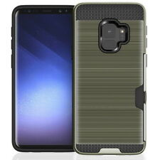 Brushed Hybrid Card Slot Holder Hard Case Cover For Samsung S9 S8 A6 A7 A8 2018