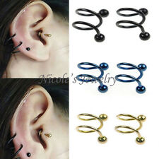 1PCS 16g Surgical Steel Twist Ear Earring Spiral Helix Nose Ring Body Piercing