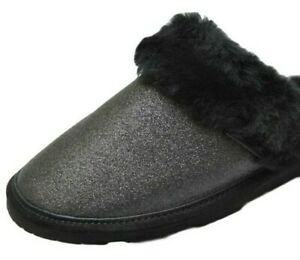 Bearpaw Laney Black Glitter Slippers Sheepskin Lined Women's 9M Plush Mule 1379W