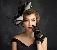 Retro Women's Wedding Party Hat Prom Evening Church/Dress Formal Feather Cap