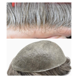 Invisible Mens Toupee Gray Hair Replacement System Ultra Thin Skin Hairpieces US