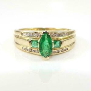 2Ct Marquise Cut Green Emerald Solitaire Engagement Ring 14K Yellow Gold Finish