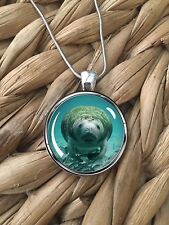 Save the Manatee Sea Cow Animal Lover Glass Pendant Silver Chain Necklace New