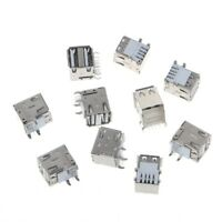 10Pcs Dual USB 2.0 Female Type A 8-Pin DIP Right Angle Jack Socket Connector