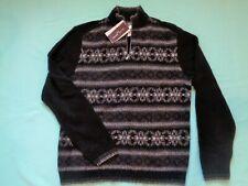 NWT Black Brown 1826 Mens (M) 100% MERINO Wool 1/4 Zip Sweater~NEW~$138 Retail