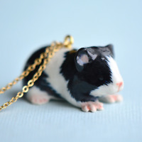 Guinea Pig Necklace Porcelain Charm Hand Painted Pendant & Gold Chain