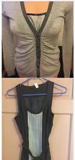 Banana Republic Top Cardigan Sweater Twin Set Xs EUC Gray Black