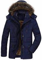 PRIJOUHE Men's Winter Coats Down Jackets Outerwear Long Cotton, Navy, Size 3.0 K