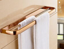 Rose Gold Brass Wall Mounted DoubleTowel Bar Holder Bathroom Accessories mba866