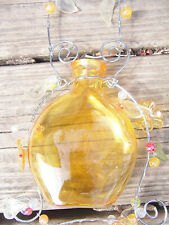 indoor outdoor hanging amber glass VASE beads wire flowers leaves pretty