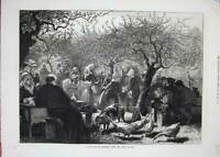 Old Antique Print 1873 Fete Day Normandy France Apple Harvest Trees Art 19th