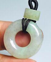 "Natural A Jadeite Jade Light Green 0.9"" Feng Shui Circle Donut Pendant F100605"