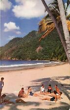 Postcard Caribbean BOAC's world-wide air routes relaxing on island beach