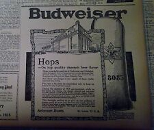 OCT 25, 1915 NEWSPAPER PAGE #J5392- BUDWEISER- ON HOP QUALITY DEPENDS BEER
