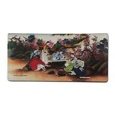 Korean Folk Painting Genuine Leather Women Bi-Fold Clutch Long Wallet Purse