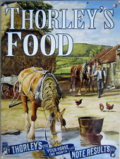 Thorley's Food, Cart Horses Farm Vintage British Country, Small Metal/Tin Sign