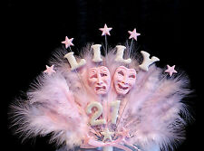 Theatre Mask NAME, AGE and Feathers custom Birthday Cake Topper, personalised