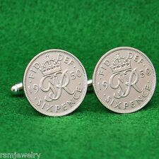 1950 British Sixpence Coin Cufflinks, King George VI Lucky Wedding UK England
