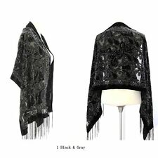 Elegant Black & Gray Colors Silk Burnout Velvet Floral Fringed Scarf Shawl Wrap