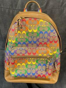 $598 COACH West Backpack Rainbow Signature Canvas PRIDE C4005 QB Khaki Multi NWT