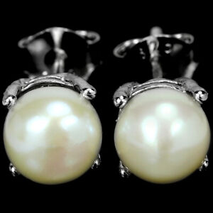 NATURAL AAA WHITE PEARL ROUND CABOCHON STERLING 925 SILVER STUD EARRING