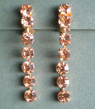 1264 /  BOUCLES D'OREILLE CLIPS STRASS AMBRE ROSE