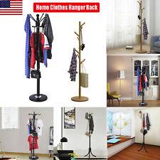 Coat Rack Hat Stand Tree Clothes Hanger Umbrella Holder Wood Organizer 12 Hook'