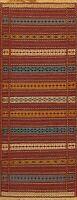 Tribal Geometric Oriental Kilim Runner Rug Wool Hand-Woven Hallway Carpet 2x7 ft