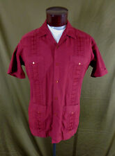Vintage Men's Burgundy Embroidered Rockabilly Cuban Cigar Lounge Shirt–L-VLV