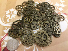 40 Pcs New Steampunk Art Gears Lot Watch Parts Wheels Cogs All Brass Bronze A6