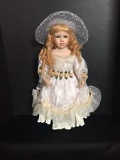 Blonde Curly Hair Collectible Porcelain Doll 21� Tall Jamie Lee Original box 38