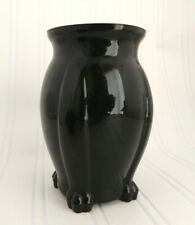 Black Amethyst Glass Footed Vase L.E. Smith 1930's Art Deco