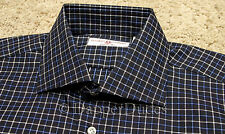 New! $450 LUCIANO BARBERA Spread Collar Dress Shirt-LG-Blue Check-Made in Italy