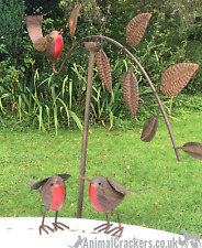 SET OF 3 ROBIN GARDEN ORNAMENTS Robin Balance Stake And 2 Painted Metal  Robins