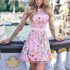 Women Floral Print Dress A-line Boho Sheer Mesh Cocktail Party Embroidery Dress